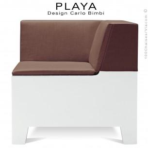 Banquette extérieur modulable d'angle PLAYA, structure plastique de couleur blanche avec coussin moka.