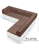 Exemple de composition banquette modulable pour extérieur PLAYA, structure plastique, avec coussin.