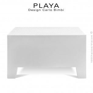 Banquette extérieur modulable pouf ou table PLAYA, structure plastique de couleur blanche ou moka.