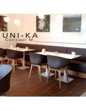 Fauteuil UNI-KA assise coque couleur, piétement bois hêtre naturel, teinté noyer ou wengé.