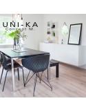 Fauteuil UNI-KA assise coque couleur, piétement acier chromé, peint blanc ou noir..