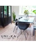 Fauteuil UNI-KA assise coque couleur, piétement acier finition chromé autre finition possible peinture blanc ou noir.