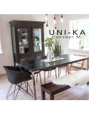 Fauteuil UNI-KA assise coque couleur, piètement finition chromé, peint blanc ou noir.