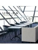Fauteuil UNI-KA assise coque couleur effet matelassé, piétement finition peinture blanche ou noire ou acier chromé.