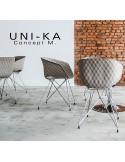 Fauteuil UNI-KA assise coque couleur, piètement finition acier chromé, peint blanc ou noir.