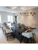 Fauteuil coque effet matelassé UNI-KA piétement hêtre naturel, assise garnie, habillage tissu 100% synthétique, couleur corde