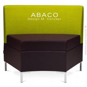 Banquette modulable courbe ABACO assise et dossier garnis de mousse, habillage tissu laine couleur verte.