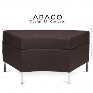 Banquette modulable courbe ABACO assise et dossier garnis de mousse, habillage tissu laine couleur marron.