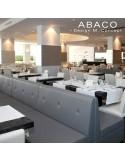 Banquette modulable ABACO assise et dossier garnis de mousse, habillage cuir.