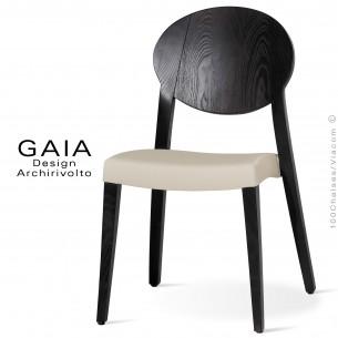 Chaise de restaurant en bois wengé GAIA assise garnie, habillage tissu synthétique couleur ficelle.