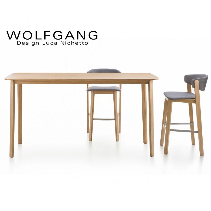 Table Haute En Bois Wolfgang Pietement Structure Plateau Bois De Chene Lot De 5 Pieces