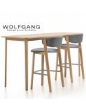 Table haute en chêne WOLFGANG, structure et plateau en chêne, vernis au choix.