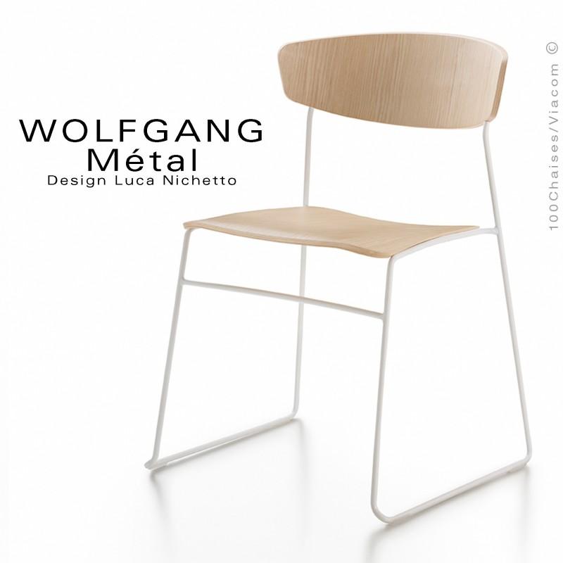 chaise WOLFGANG Métal, structure et piétement peint blanc, assise et dossier chêne blanchie