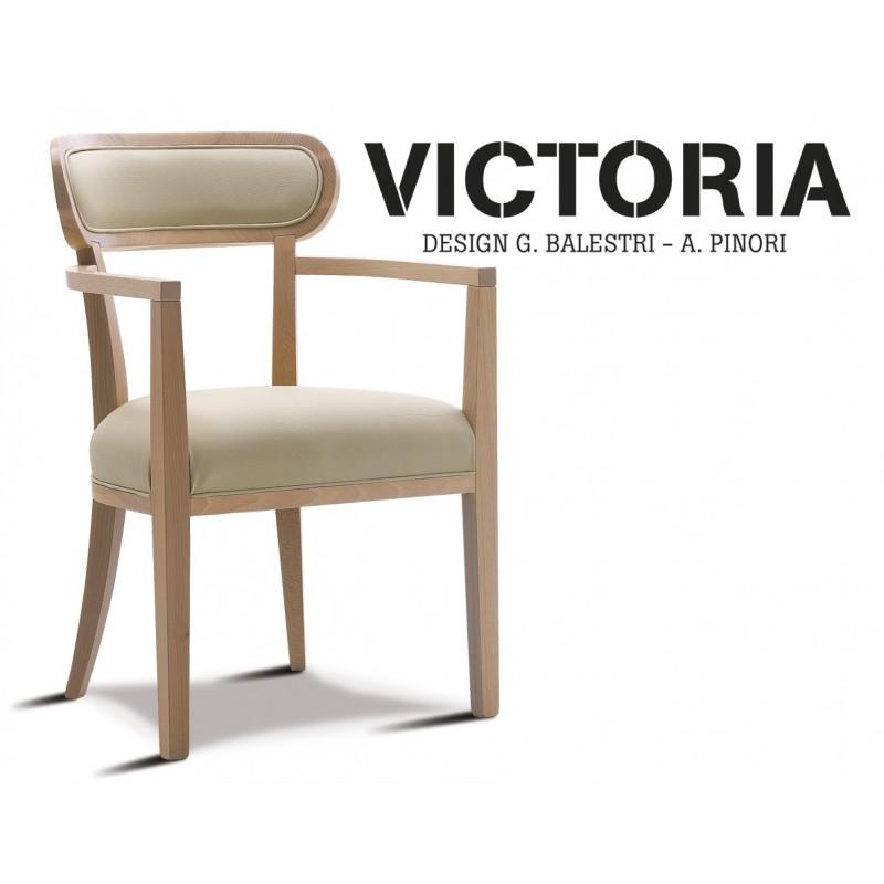 VICTORIA fauteuil dos garnie finition hêtre naturel, habillage gamme T1/310 aspect cuir.