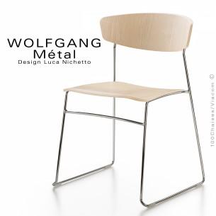 chaise WOLFGANG Métal, structure et piétement chromé, assise et dossier chêne blanchie