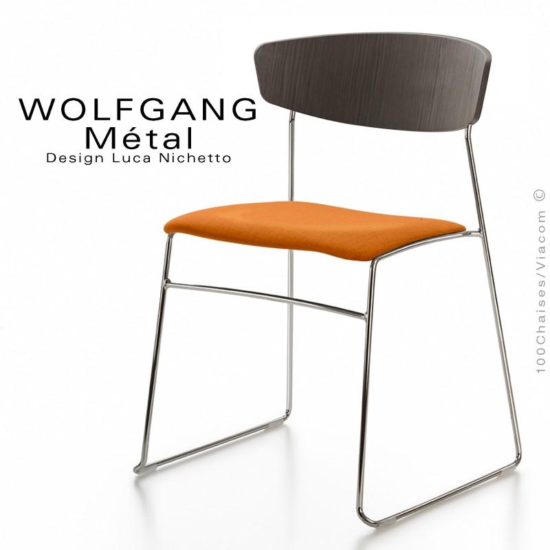 Chaise WOLFGANG Métal, piétement acier chromé, assise habillage tissu orange, dossier vernis tabac.