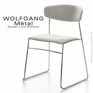 Chaise WOLFGANG Métal, piétement acier chromé, assise et dossier garnis, habillage tissu blanc.