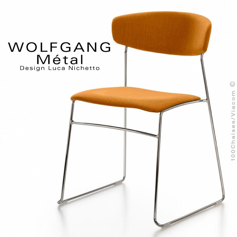 Chaise WOLFGANG Métal, piétement acier chromé, assise et dossier garnis, habillage tissu orange.