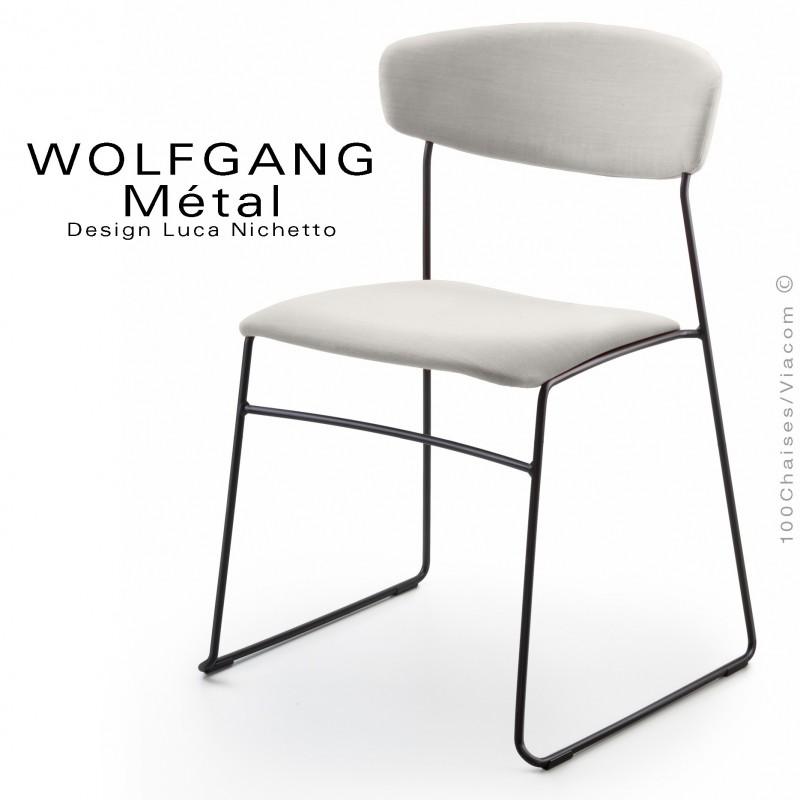 Chaise WOLFGANG Métal, piétement acier peint noir, assise et dossier habillage tissu couleur blanc.