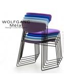 Chaise empilable WOLFGANG Métal, piétement acier peint, assise et dossier garnis, habillage tissu.