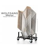 Chaise empilable WOLFGANG Métal, piétement acier chromé, assise garnis, habillage tissu, dossier chêne.