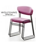 Chaise empilable WOLFGANG Métal, piétement acier peint blanc, assise habillage tissu, dossier chêne massif.