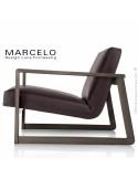 Fauteuil lounge pour salon MARCELO structure chêne, vernis tabac, assise-dossier garnis, habillage cuir marron foncé