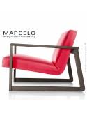 Fauteuil lounge pour salon MARCELO structure chêne, vernis tabac, assise-dossier garnis, habillage cuir marron rouge
