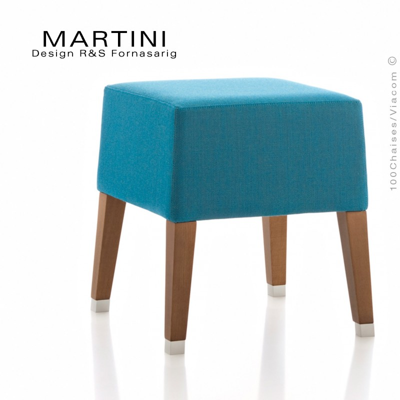Tabouret d'appoint MARTINI, piétement bois vernis noyer, assise garnie, habillage tissu couleur bleu