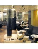 Tabouret d'appoint MARTINI, piétement bois naturel, assise garnie, habillage cuir synthétique