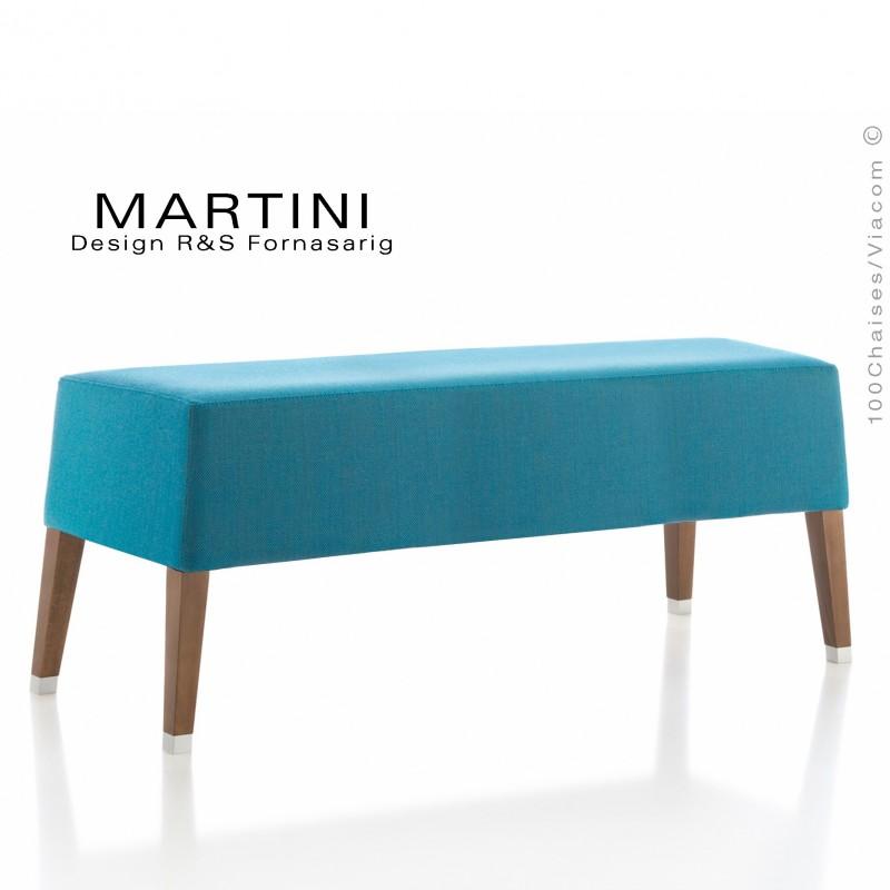 Petite banquette MARTINI, piétement bois vernis noyer, assise garnie de mousse, habillage tissu couleur bleu