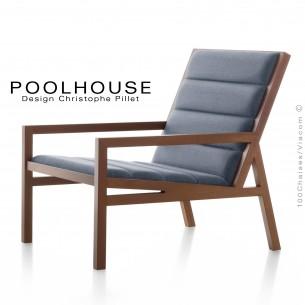Fauteuil lounge de salon ou d'attente POOLHOUSE structure chêne vernis noyer, assise garnis habillage tissu gris bleu