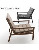 Fauteuil lounge de salon ou lieu d'attente POOLHOUSE, structure chêne, assise tissu MAYA.