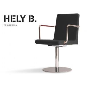 HELY-B avec accoudoirs, fauteuil structure acier chromé, habillage gammes T1 ou T2 au choix.