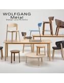 WOLFGANG fauteuil design bois vernis tabac, assise capitonnée couleur chanvre.