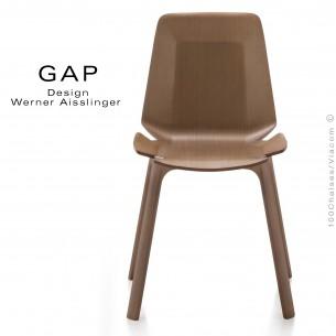 Chaise design bois GAP, structure et assise chêne, vernis tabac.