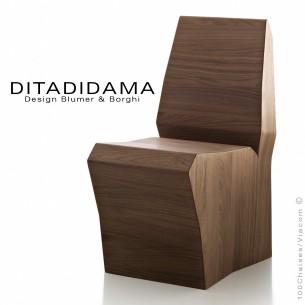 Chaise DITADIDAMA, structure bois de chêne ou noyer - unique.