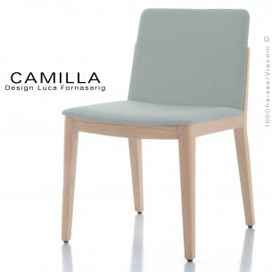 Chaise de restaurant GAIA, structure bois blanchie, assise et dossier habillage tissu King-L-Kat, couleur glace.