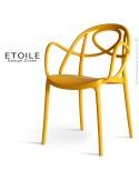 Fauteuil plastique ETOILE, idéale pour les terrasses et jardins - Lot de 4 pièces, couleur jaune ocre.