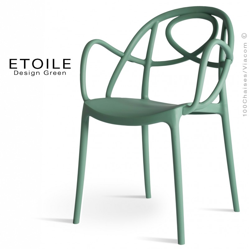 Fauteuil plastique ETOILE, idéale pour les terrasses et jardins - Lot de 4 pièces, couleur vert sapin.