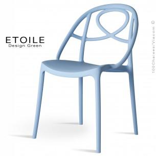 Chaise plastique ETOILE, idéale pour les terrasses et jardins - Lot de 4 pièces, couleur bleu.