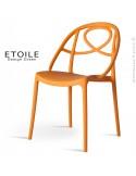 Chaise plastique ETOILE, idéale pour les terrasses et jardins - Lot de 4 pièces, couleur orange.