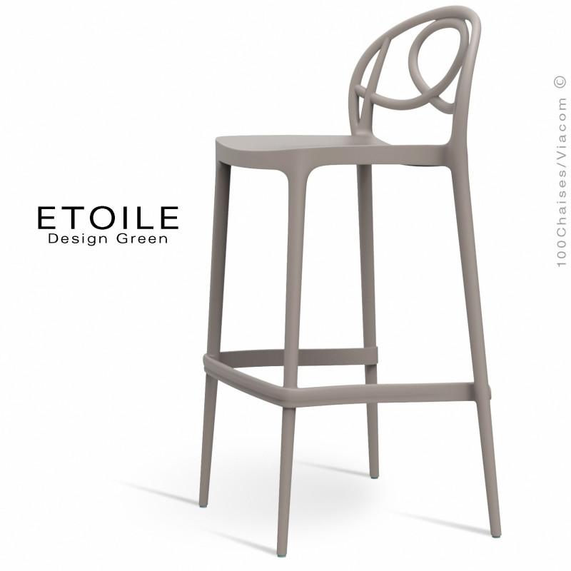 Tabouret de bar plastique ETOILE, idéale pour les terrasses et jardins - Lot de 4 pièces, couleur gris tourterelle ou sable.