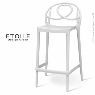 Tabouret de cuisine plastique ETOILE, idéale pour les terrasses et jardins - Lot de 4 pièces, couleur blanc.
