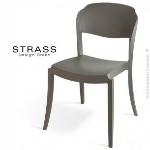Chaise plastique STRASS, idéale pour les terrasses et jardins - Lot de 4 pièces, couleur anthracite..