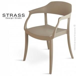 Fauteuil plastique STRASS, idéale pour les terrasses et jardins - Lot de 4 pièces, couleur gris tourterelle.