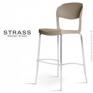 Tabouret de bar STRASS, assise plastique, piétement chromé - Lot de 4 pièces, couleur gris tourtrelle.