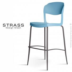 Tabouret de bar STRASS, assise plastique, piétement peint anthacite - Lot de 4 pièces, assise couleur bleu Pacifique.