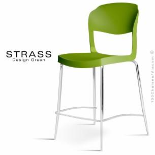 Tabouret de cuisine STRASS, assise plastique, piétement chromé - Lot de 4 pièces, assise couleur verte.