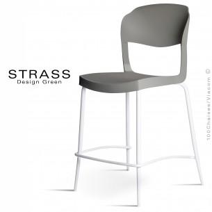 Tabouret de cuisine STRASS, assise plastique, piétement peint blanc - Lot de 4 pièces, assise couleur anthracite.